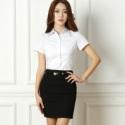 职业衬衫女装正装夏装白色短ol衬衣图片