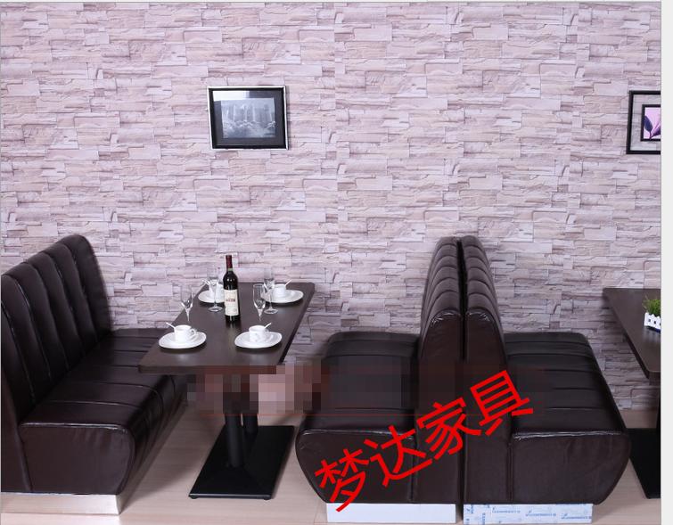 供应用于皮革的郑州咖啡厅西餐厅茶楼卡座火锅沙发餐饮奶茶店定做酒店家具 沙发桌椅