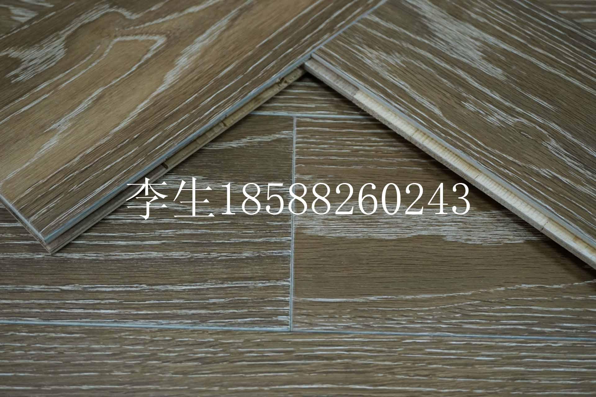 供应橡木烟熏白边多层实木复合地板厂价直销
