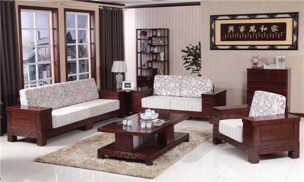 新中式客厅实木沙发665-3#批发