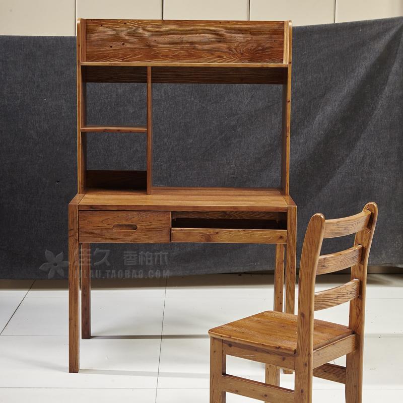 供应电脑桌实木书桌带书架 全实木书桌