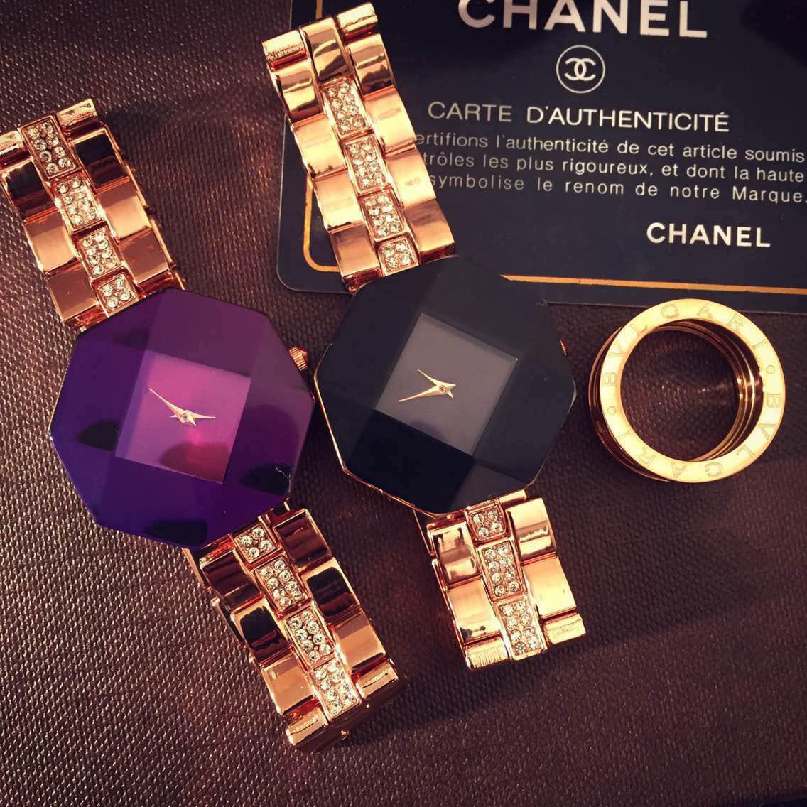 水晶钻石面切割钢带女表价格