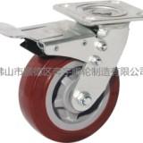 供应奔宇脚轮重型超级聚氨酯带刹轮6寸万向轮 平底双刹