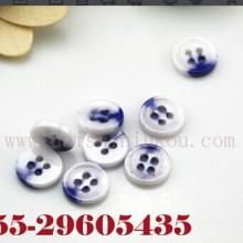 供应用于服装辅料的钮扣青花瓷西装衬衫圆形四孔陶瓷扣