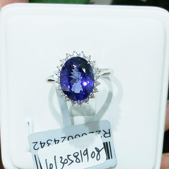 供应18K金伴钻戴安娜王妃款坦桑石戒指 绚彩珠宝自有工厂定制坦桑石戒指