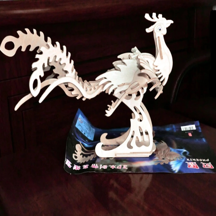 凤凰木制3D仿真动物模型玩具 木质DIY儿童益智手工立体拼装玩具