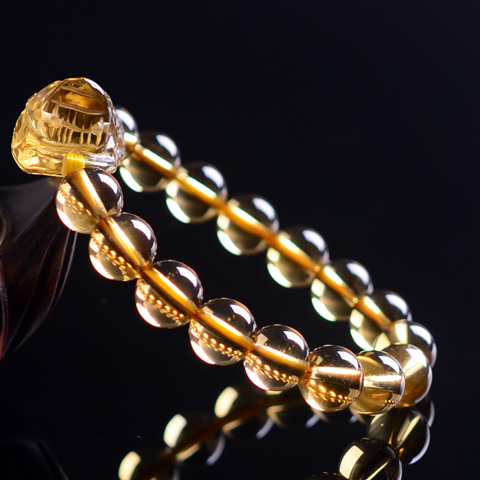 供應聚善堂天然黃水晶招財開光貔貅手鏈圖片