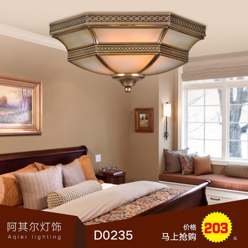 卧室吸顶灯 原厂直销 欧式玻璃灯具 x0008 欧式全铜卧室吸顶灯