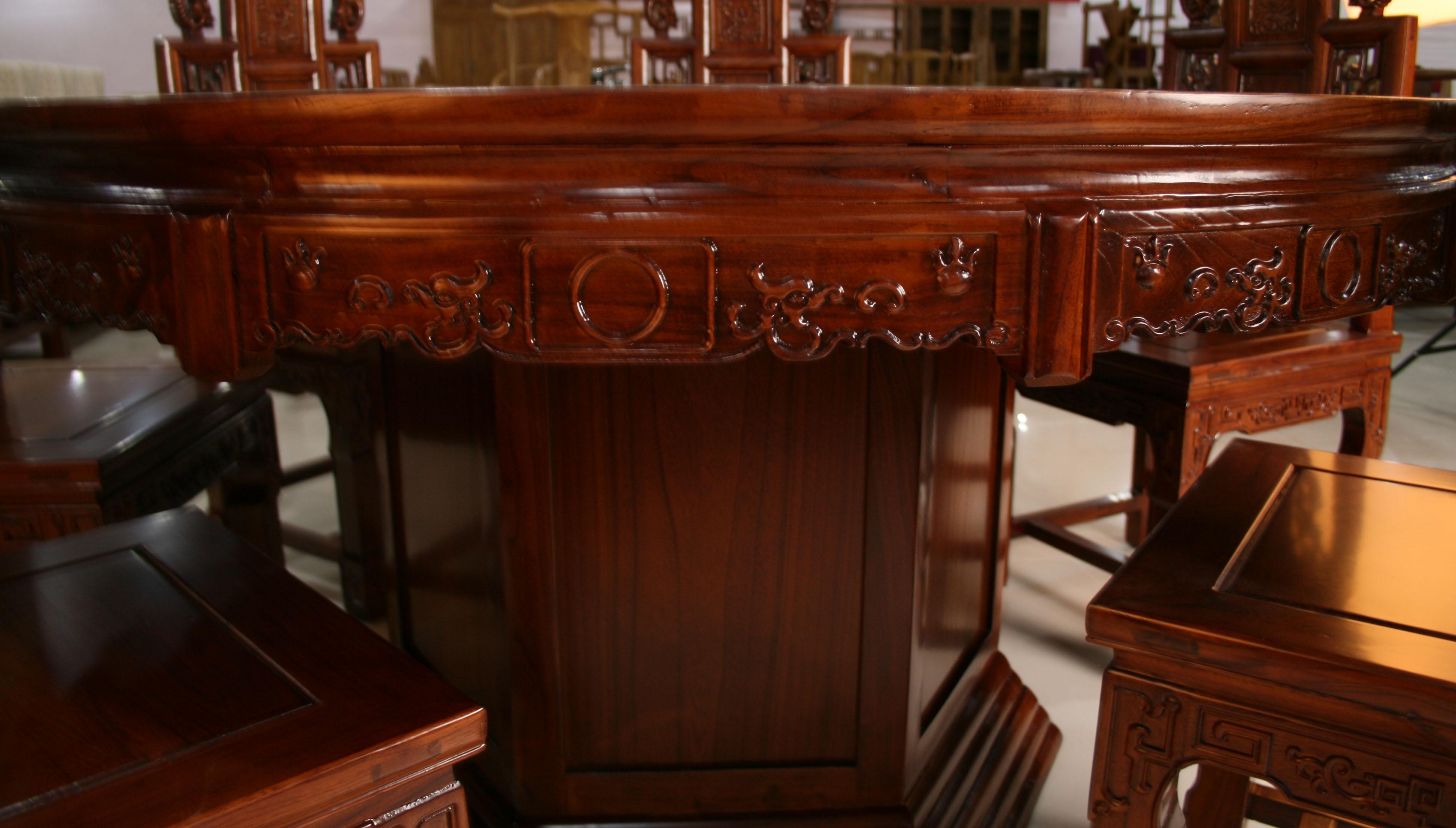 中式老榆木实木圆形仿古餐桌餐椅价格