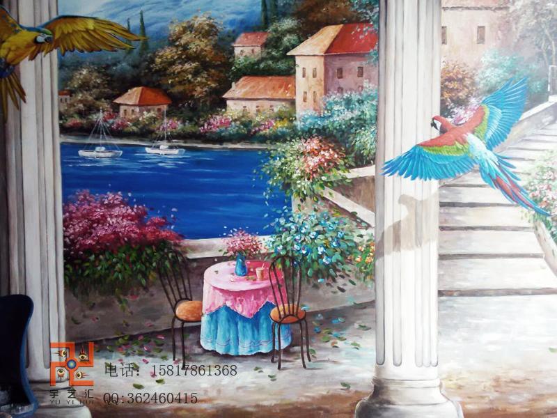 供应惠州广州手绘画电视墙手绘油画惠州广州手绘画电视墙,广州手绘画