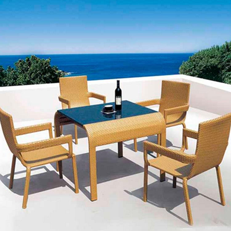 户外休闲藤编桌椅 庭院花园仿藤桌椅