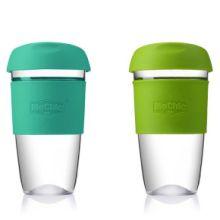 定制透明玻璃杯 随手咖啡杯创意耐热硅胶套玻璃杯水杯子