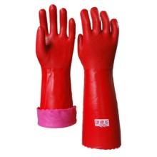 红色家用保暖手套 pvc砂面绒布内衬 山东顺兴劳保用品 40cm