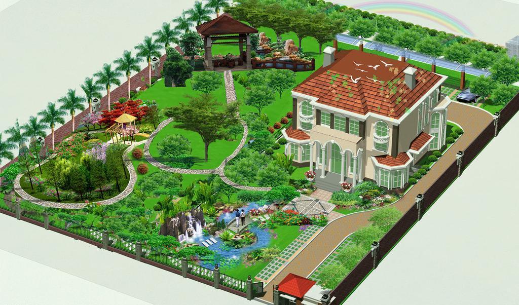 园林庭院工程_嘉兴别墅央视_一禾别墅庭院未来建筑设计师图片
