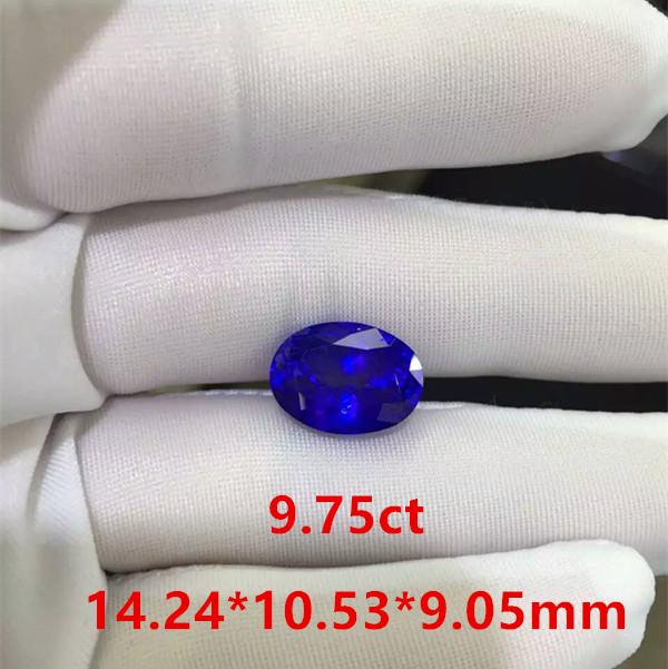 9.75克拉5A椭圆形坦桑石裸石 天然宝石 颜色浓郁 火彩闪耀 适合镶嵌戒指 吊坠 豪华款式