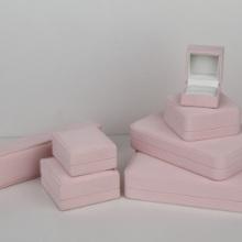 东莞PU皮盒加工厂 八角形饰品盒 杏色贴皮塑胶盒 粉色项链包装盒