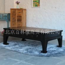 全实木茶几藤席面抽屉长方咖啡桌子 中式复古老松木定制客厅家具