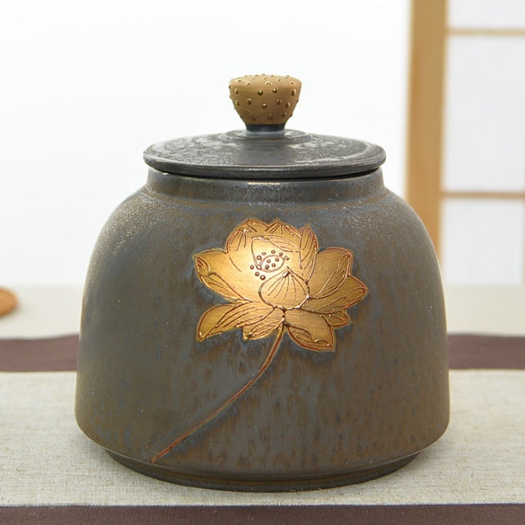 厂家直销定铁釉茶叶罐功夫茶具密封罐茶叶罐高档礼盒套装一件代发