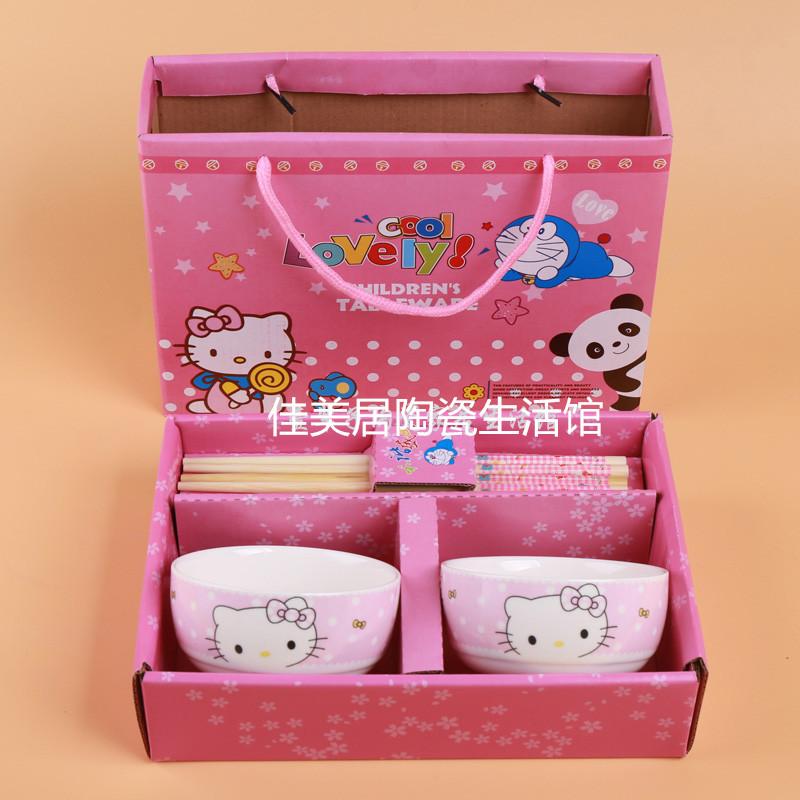卡通陶瓷碗筷礼品套装,hello kitty哆啦a梦卡通陶瓷碗筷礼品套装儿童餐具青花瓷碗勺礼盒
