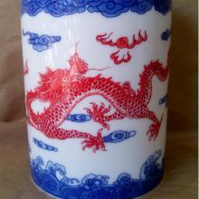 景德镇厂家直销 陶瓷青花笔筒 陶瓷青花笔筒生产加工图片