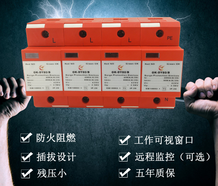 欧乐oule 浪涌保护器,电源防雷器,电涌保护器80KA,防雷模块 80KA电源防雷器
