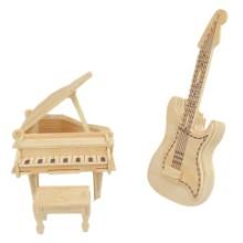 供应3D木制吉他模型木制工艺品加工 3D立体拼图仿真模型木质摆件