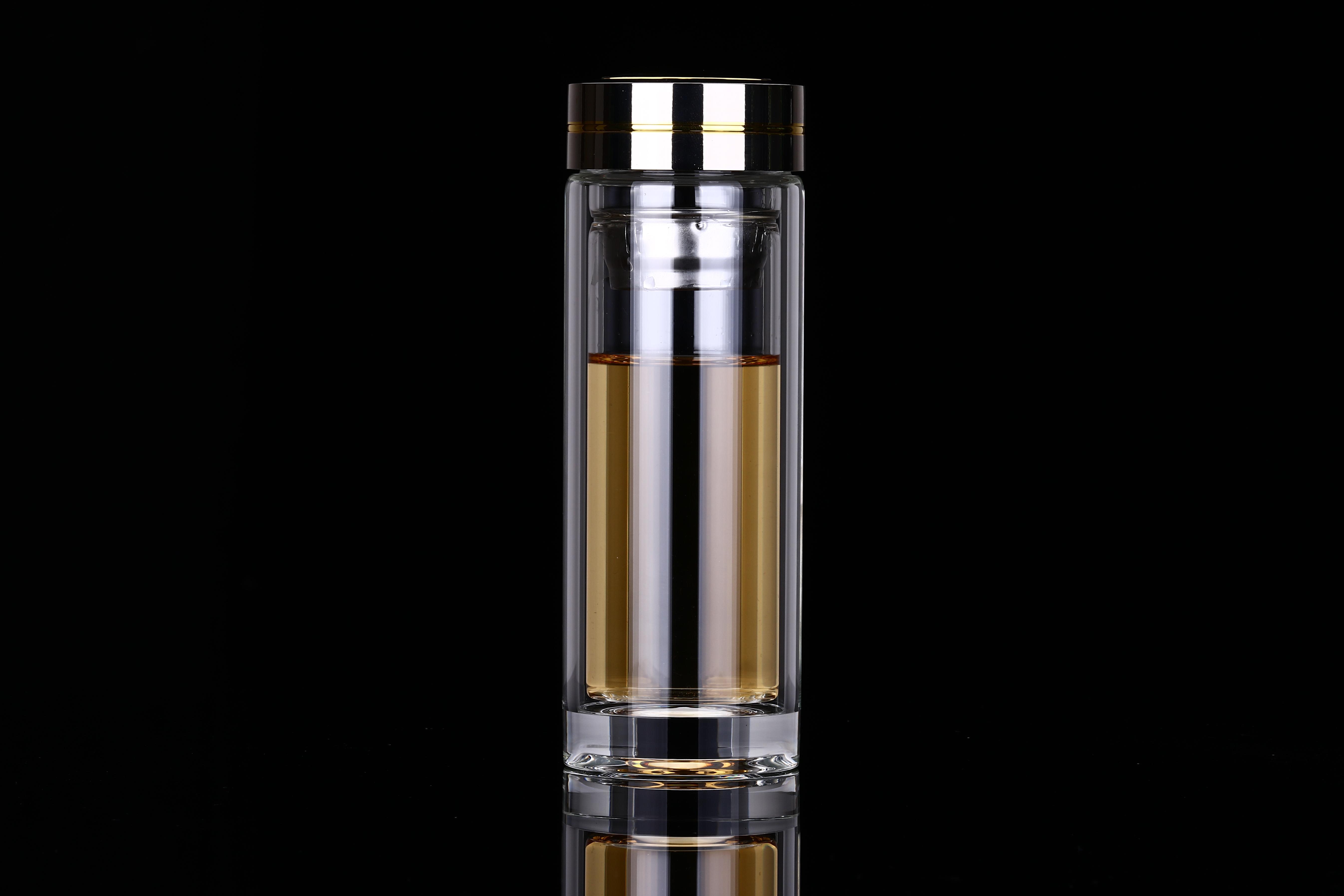 玻璃杯专业供应 双色盖水晶厚底 精品耐高温玻璃杯 男式厚底商务玻璃水杯 双色厚底玻璃杯水杯
