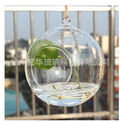 批发悬挂式圆球水晶玻璃创意婚庆道具多肉苔藓水培花瓶器