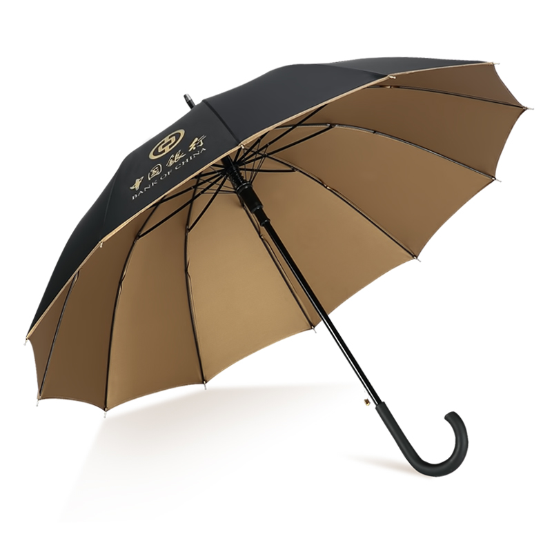 蓝雨 12骨金胶长柄广告伞 纤维抗折防风礼品伞 可印logo雨伞