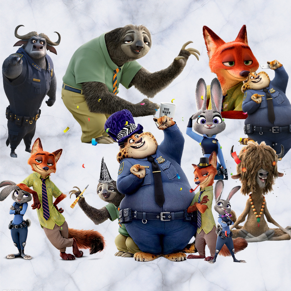 3d卡通动画疯狂动物城儿童墙贴纸尼克朱迪兔子墙贴