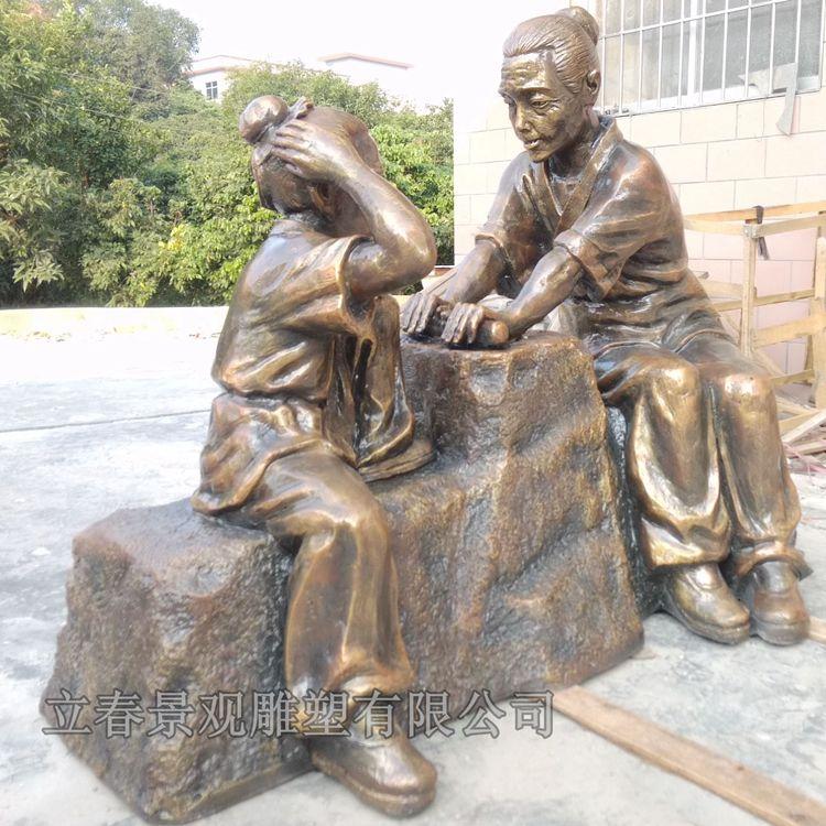 校园雕塑 校园雕塑铁棒磨成针励志雕塑小品玻璃钢雕塑玻璃钢雕塑报价