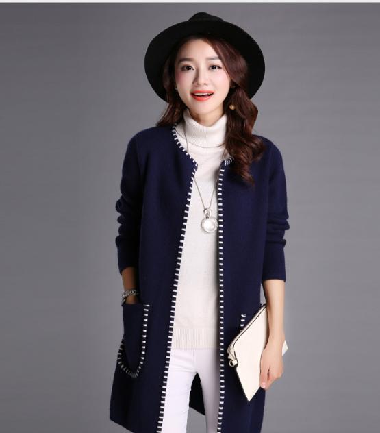 速卖通外贸爆款高端女秋装新款针织衫中长款韩版羊毛衫潮外套开衫