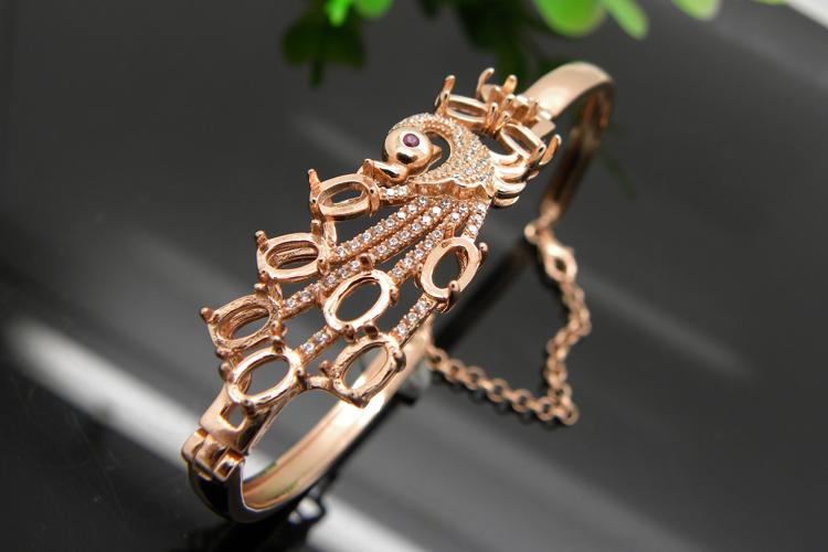 新款凤凰手链镶嵌款手链托 翡翠手镯动物款显气质女戒手饰银饰定做