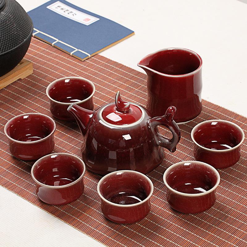 天目釉茶具套装粗陶功夫礼品复古直筒杯钧窑陶瓷茶具批发 天目釉茶具粗陶