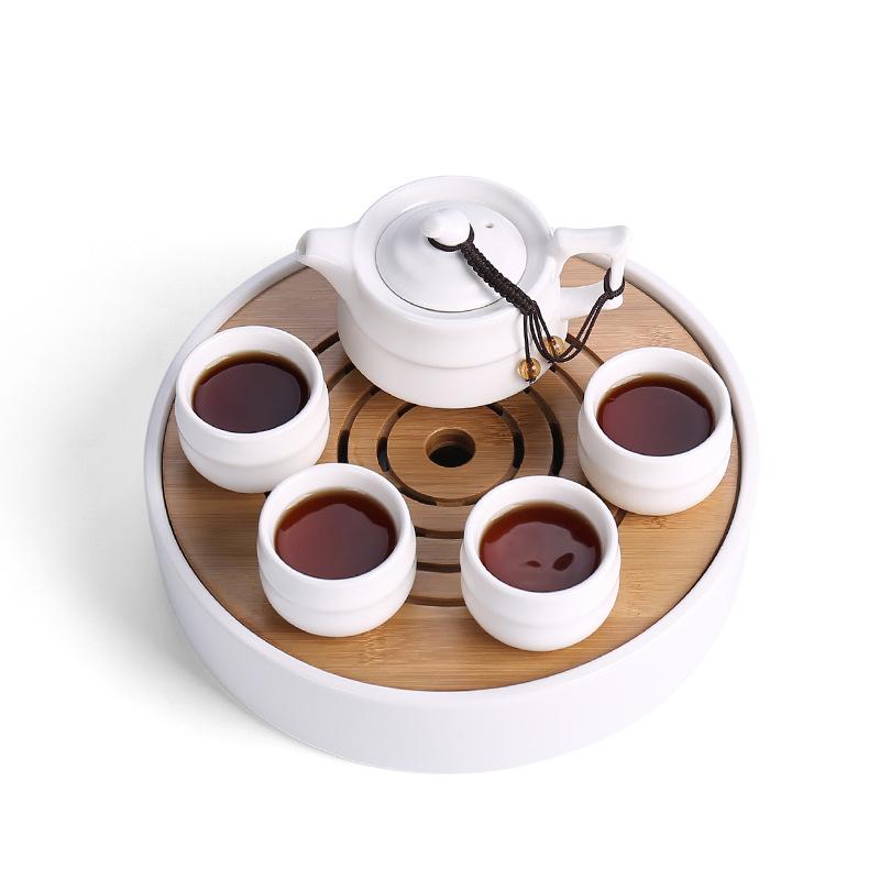 哑光一壶四杯一盘便携旅行茶具套组定窑快客杯陶瓷功夫茶具批发