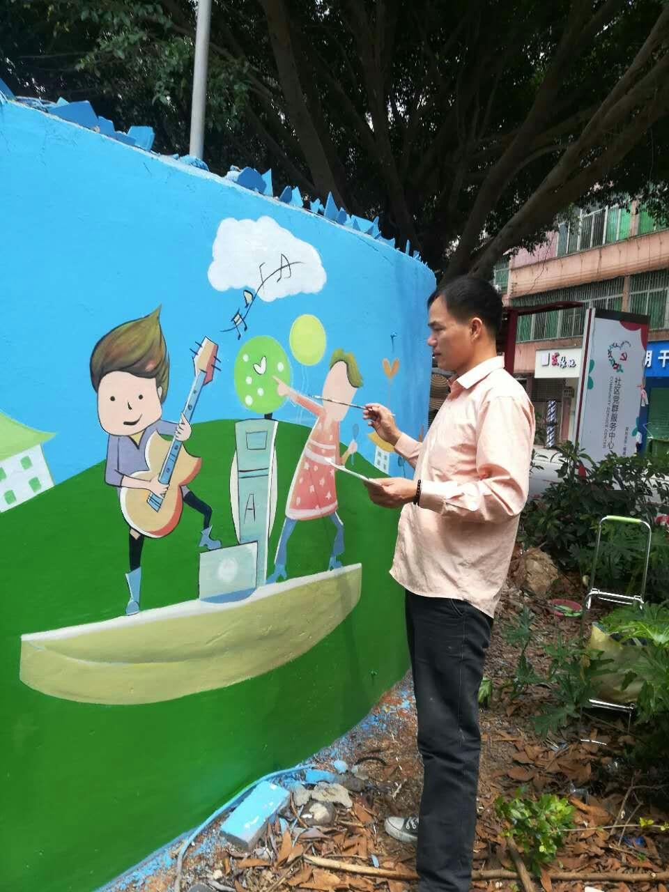 外墙墙体壁画,学校文化墙壁画,