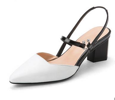 2017新款尖头单鞋包头鞋子粗跟高跟鞋夏中跟一字带女鞋上饶女士单