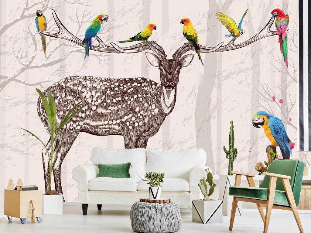 北欧麋鹿墙纸电视背景墙壁纸个性3d创意壁画防水