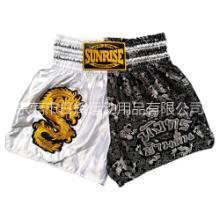 泰国SUNRISE中国龙泰拳拳击散打短裤金色刺绣男 训练运动武术短裤