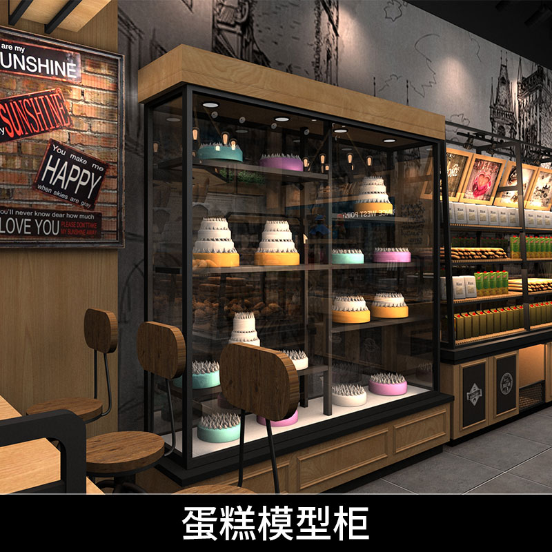 面包糕点房设备蛋糕模型柜蛋糕样品仿真模型多层玻璃展示柜厂家定制