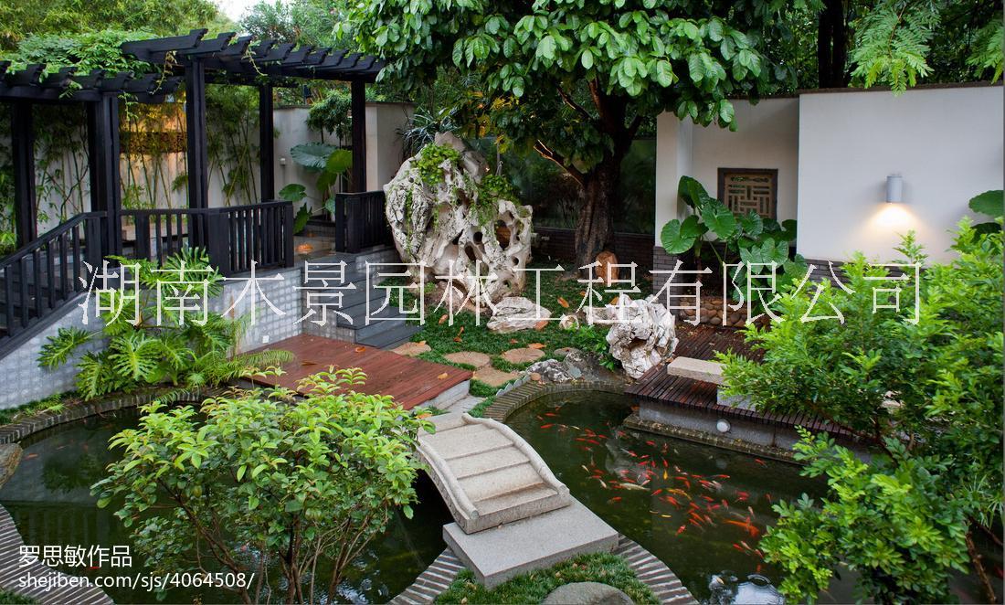 湖南长沙别墅庭院花园设计与施工 防腐木廊架花架防腐木凉亭栏杆假山