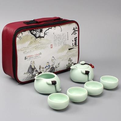 快客杯新款2人陶瓷一壶二两杯定窑户外便携办公旅行功夫茶具套装