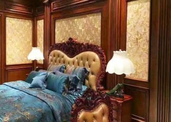 美式原木床头背景图片