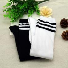 三条横条纹长筒学生袜 过膝学生袜 时尚学生袜 条纹学生袜加工厂