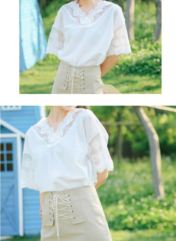 夏季新拼小众复古设计领口蕾 复古蕾丝 复古蕾丝舒适棉麻宽松上衣 复古蕾丝舒适宽松上衣