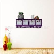 壁挂式木质储物架 墙上木质工艺品挂件 紫色小收纳盒 家居花架批发