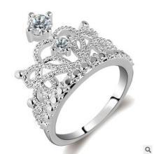 厂家新款时尚电镀真黄金几何型戒子锆石戒指女 跨境电商货源 新款时尚电镀戒指批发