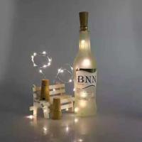 厂家直销 LED纽扣电池铜线瓶塞灯串 室内装饰灯串
