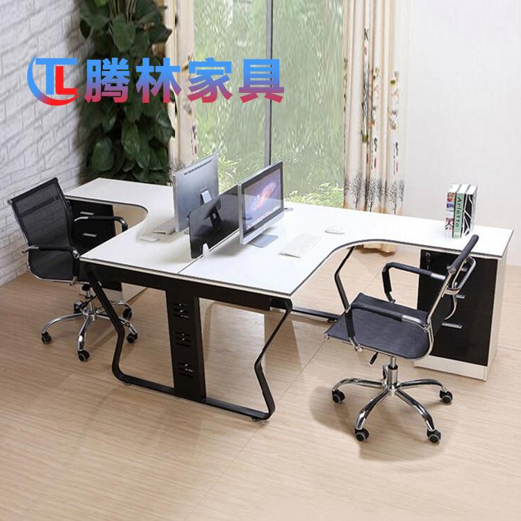 2人位蝴蝶架L型办公桌屏风员工办公电脑桌职员桌
