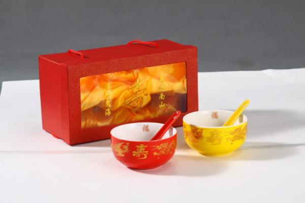 万寿无疆碗高脚碗答谢礼盒定制生日回礼套装防烫骨瓷礼盒套装红碗 寿碗 回礼碗